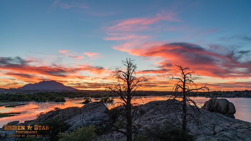 Two Old Snags & Sunset @ Willow Lake, Prescott, AZ