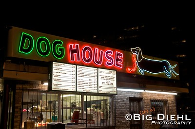 The Best Chile Dogs in Albuquerque can be found under this animated neon sign.  On Central Avenue, i.e. Route 66, just west of downtown Albuquerque