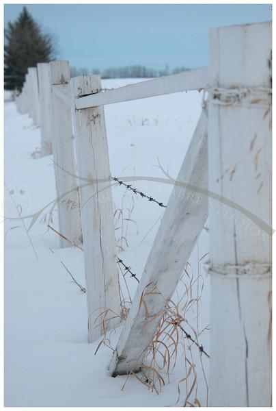 White fence at dusk