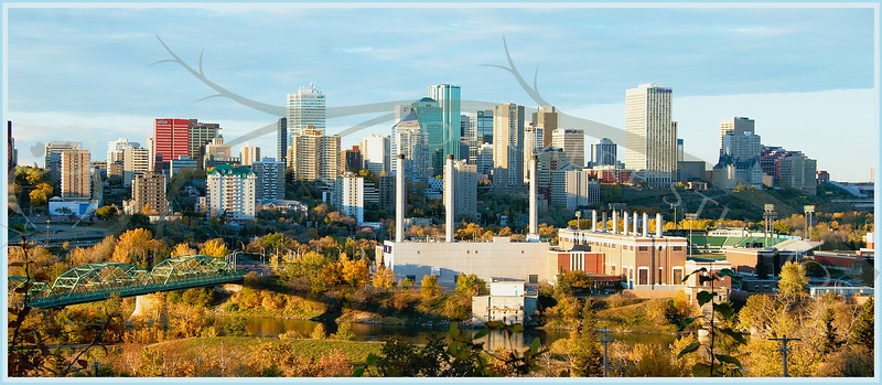 Downtown Edmonton, fall 2005. From the top of Saskatchewan Drive, looking across the North Saskatchewan river, past the water treatment plant toward downtown. On the left is the Low Level Bridge, on the far upper right is the Hotel MacDonald and Canada Place.
