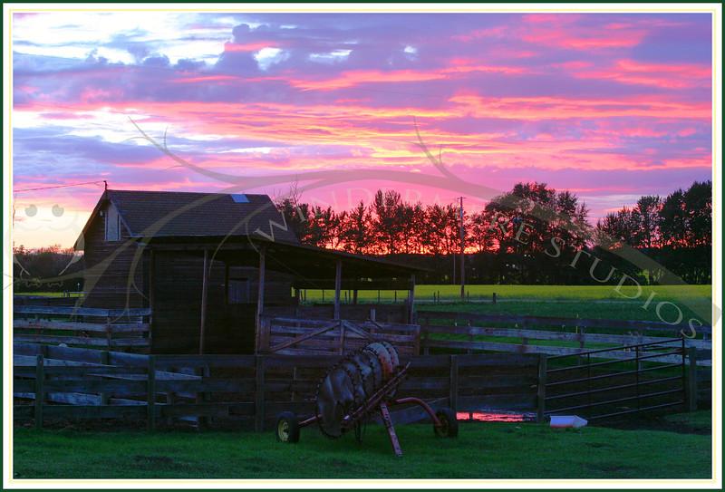 Farmyard at sunset, near Rabbit Hill Ski Hill