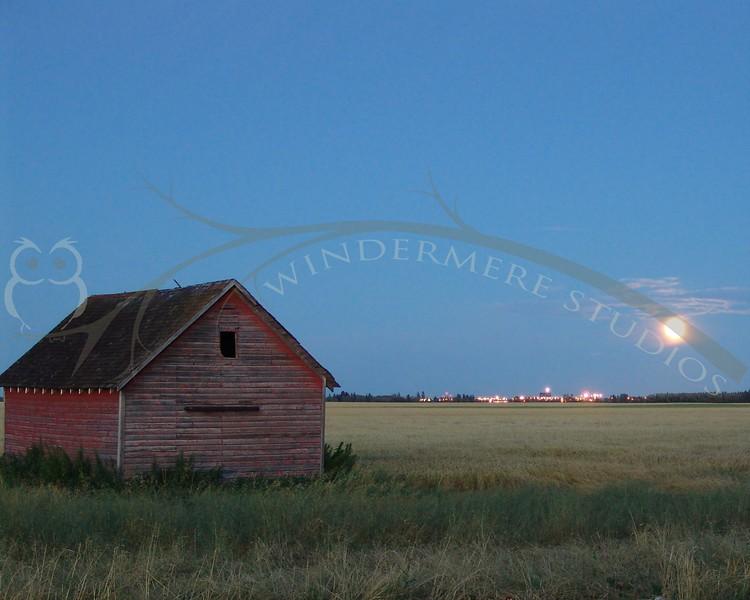 Farm Building in the moonlight, near the Edmonton International Airport