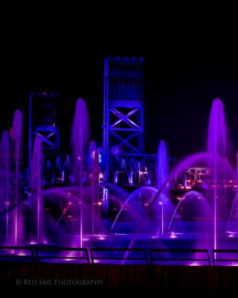Friendship Fountain 3.. Downtown Jacksonville, FL.. The Main Street Bridge in the background.