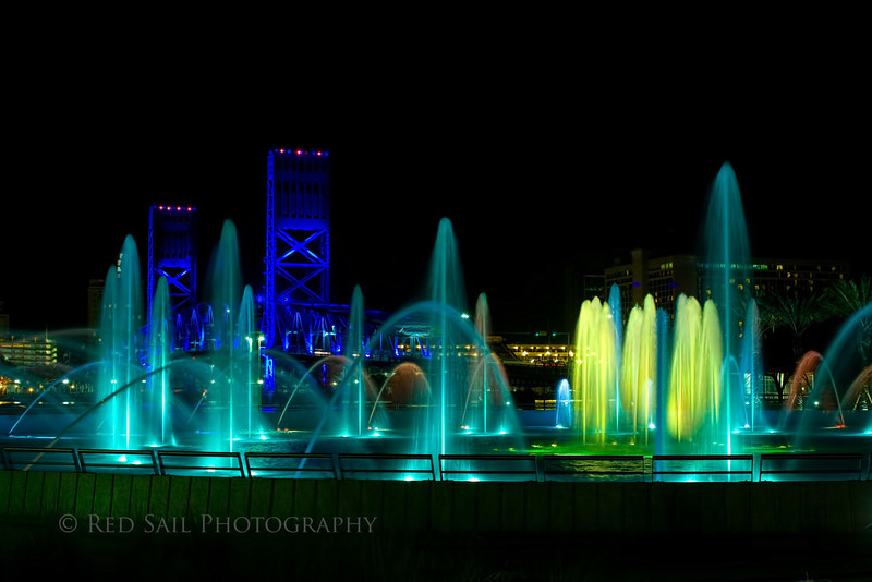 Friendship Fountain 1.. Downtown Jacksonville. The Maine Street Bridge in the background.