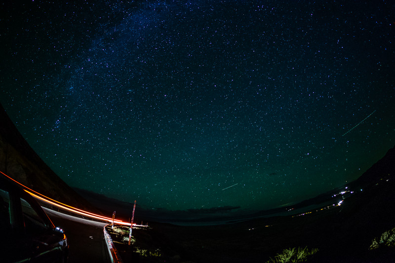 The Milky Way, Mono Lake, and the lights of Lee Vining from Conway Summit
