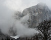 Yosemite Falls in winter clouds