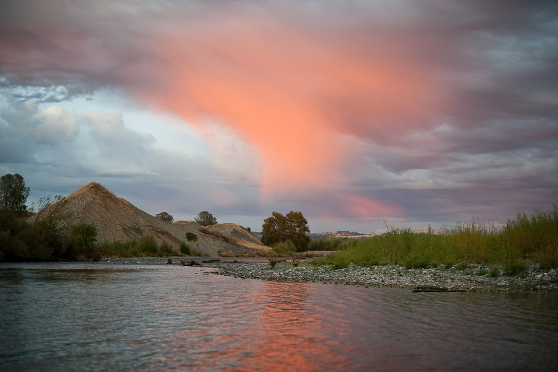 Evening rain and sunset on the lower Yuba River