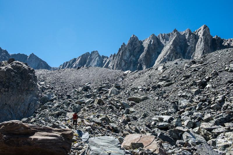 Matterhorn Peak behind the talus piles of a lateral moraine