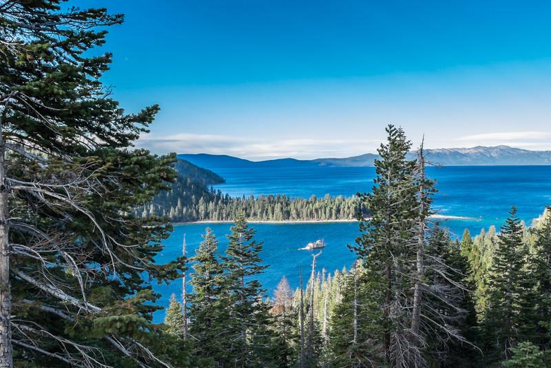Emerald Bay, sternwheeler boat, and Lake Tahoe