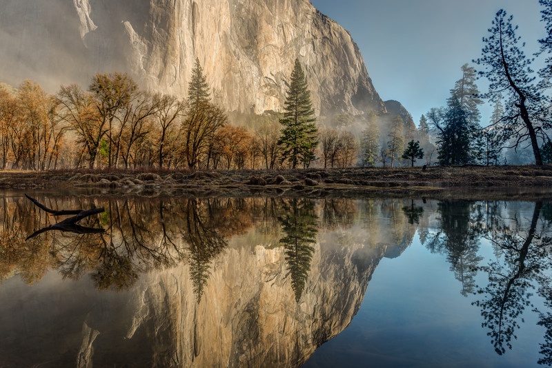 Merced River reflections of El Capitan