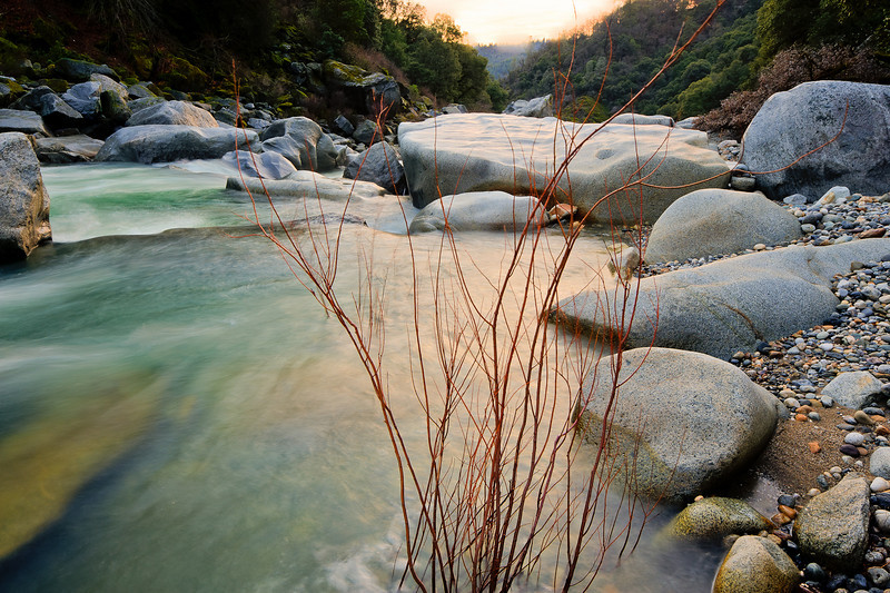 river, rock, and willow