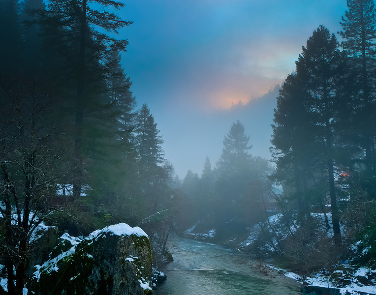 Sunset and fog on the Downie River, Downieville