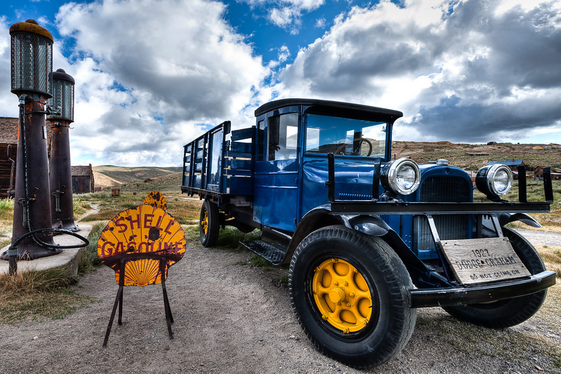 Dodge truck and Shell gas pumps, Bodie
