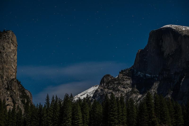 Half Dome in moonlight