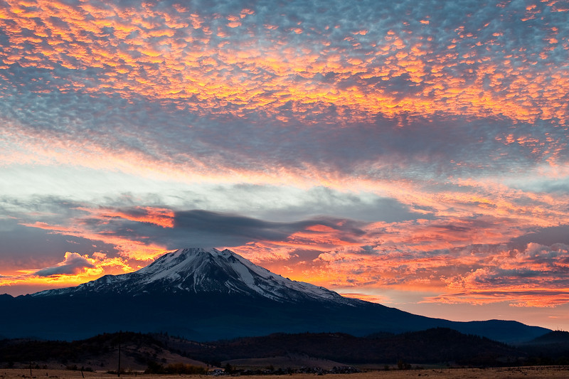 Sunrise behind Mt. Shasta