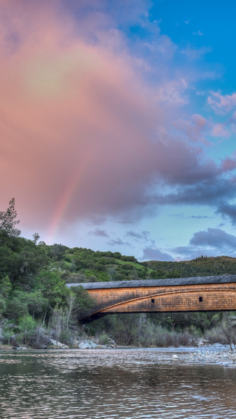Sunset rainbow over Bridgeport