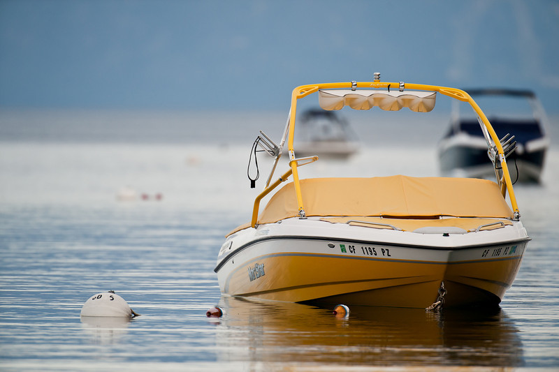 yellow boat, lake tahoe