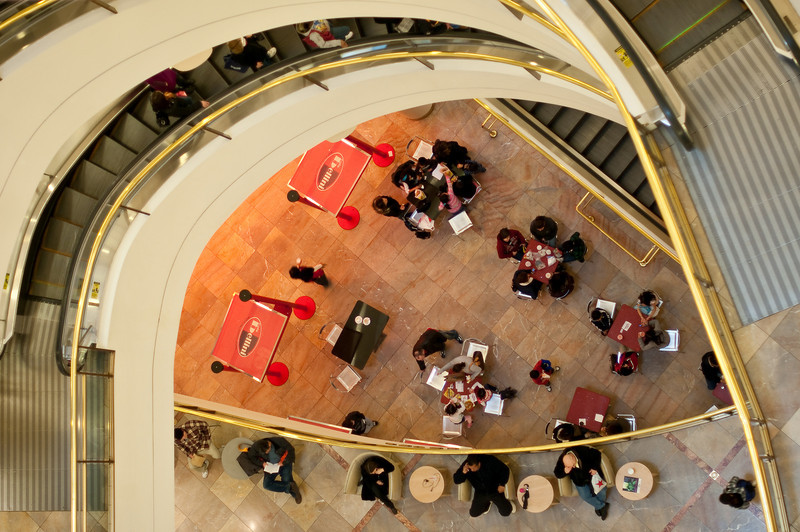 People, plaza, and escalator, Westfield Mall in San Francisco