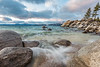 December waves and rocks at Sand Harbor,  Lake Tahoe