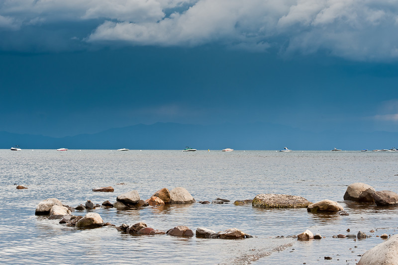 rocks and summer storm, Lake Tahoe