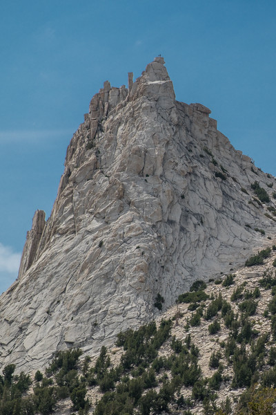 Two climbers on the top of Cathedral Peak