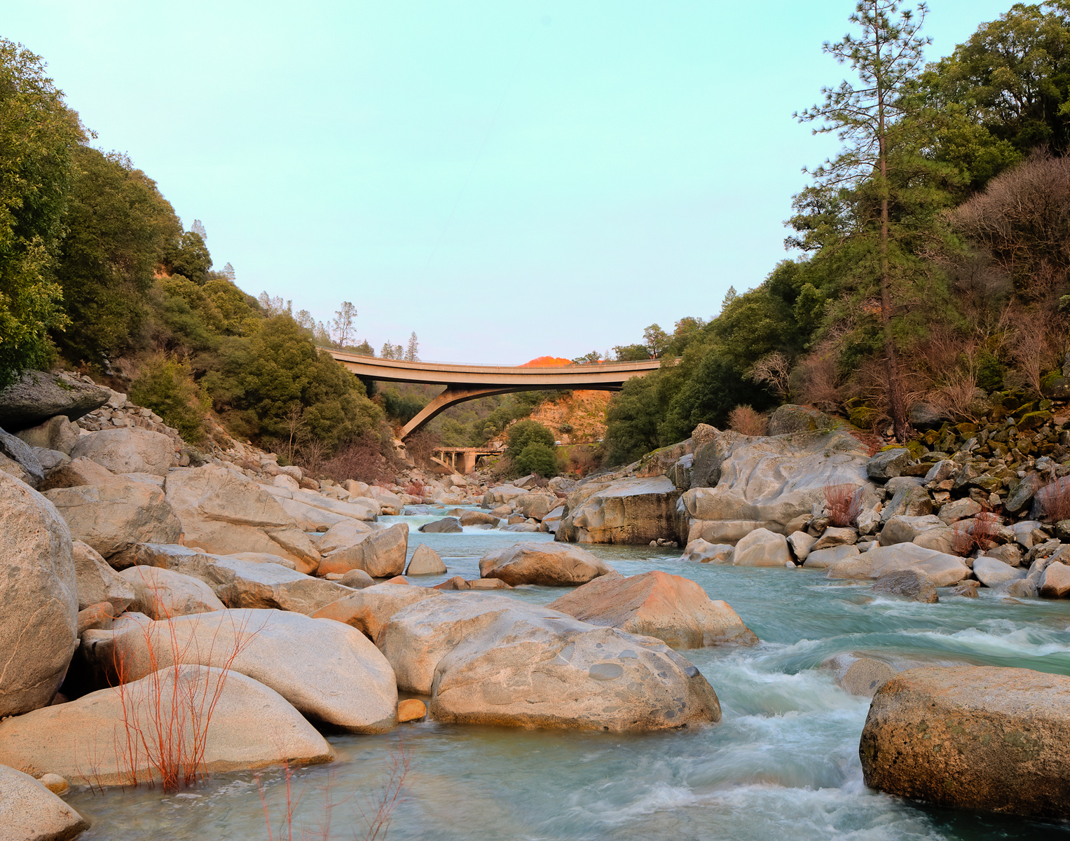 The new and old bridges, HWY 49, and South Yuba River