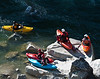 Kayaking group putting in at the Hwy 49 bridge, South Yuba River