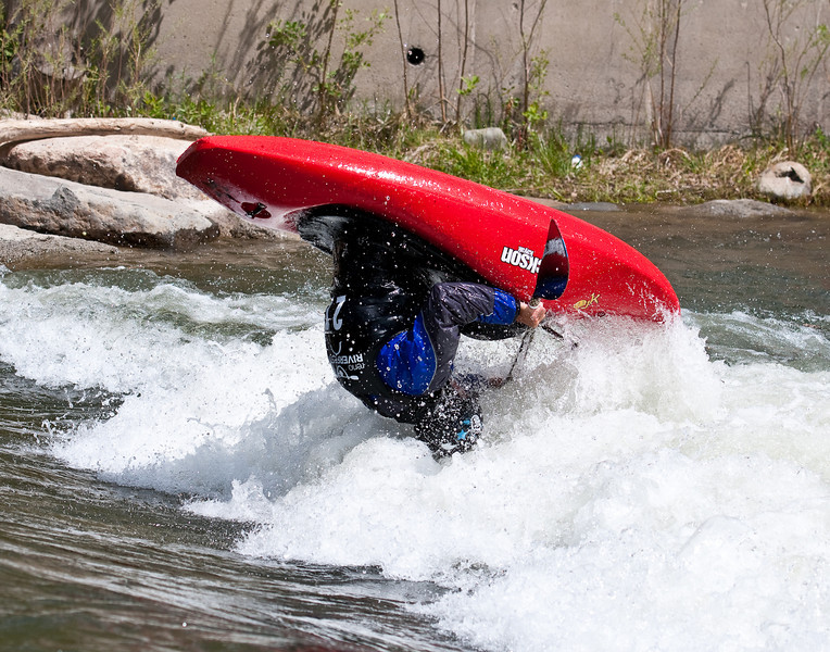 Airborne front flip on the Truckee River, Reno Riverfest
