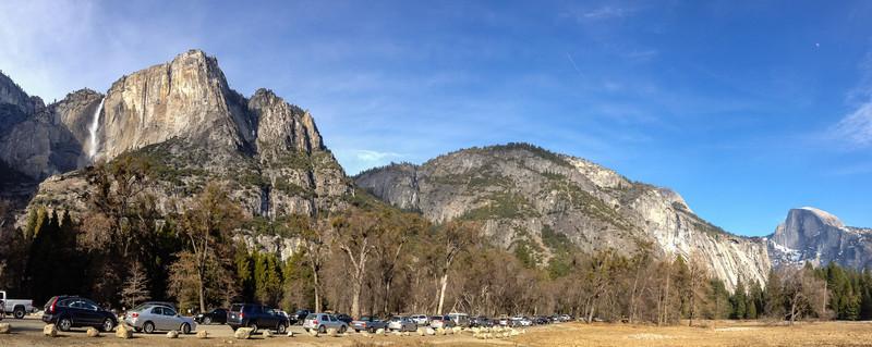 Yosemite Falls and Half Dome panorama