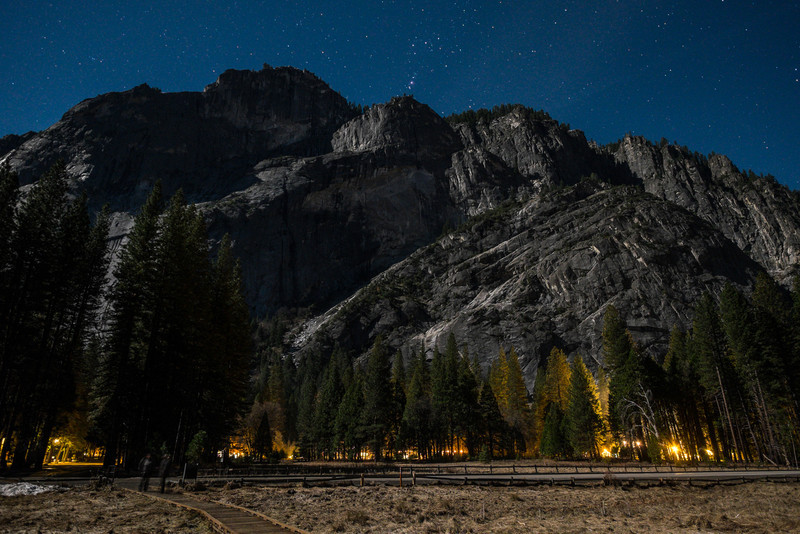 Glacier Point and Curry Village by moonlight