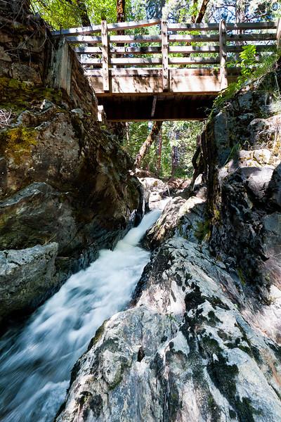 Pioneer trail bridge above Bear River