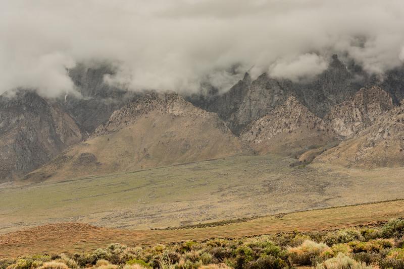 Wheeler Ridge in clouds, spring storm