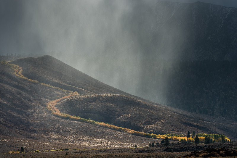 Sunbeams and Storm over the Sierra Crest