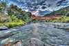 Bridgeport covered bridge and fall dark clouds, Yuba River