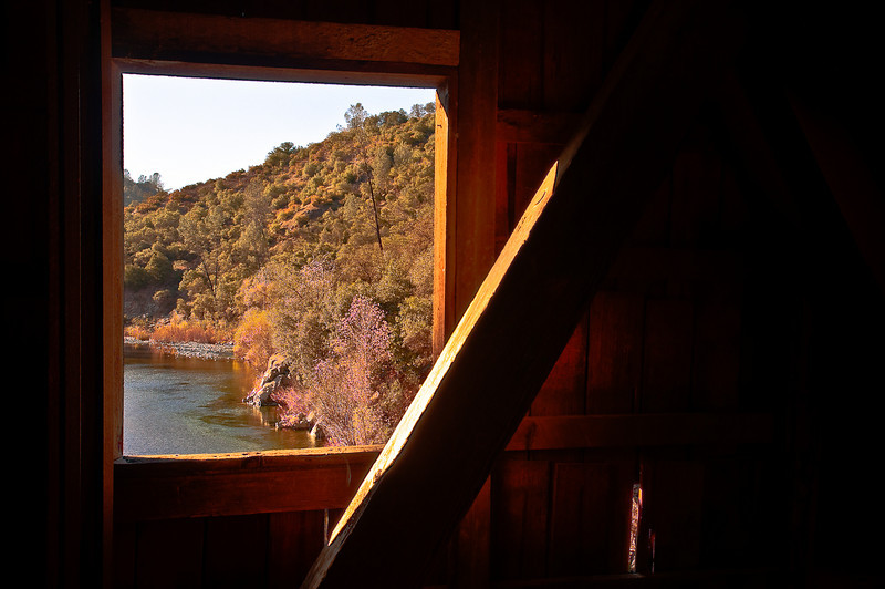 Window and the Yuba River, Bridgeport Covered Bridge