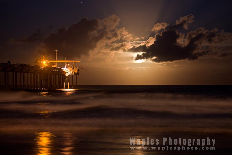 Moon, Pier, Ocean