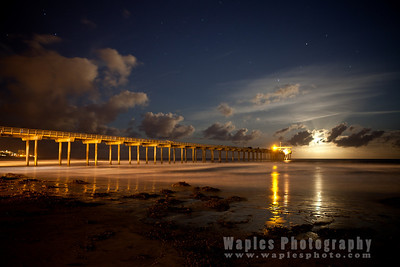 Setting Full Moon Behind Clouds - Scripps Pier