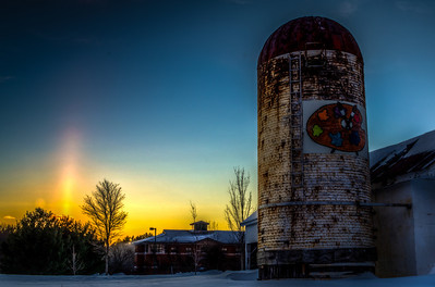 Sunset and the Silo at Hopkinton Center for the Arts