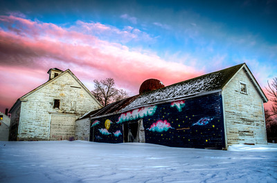 The Barn at Hopkinton Center for the Arts and Sunset Clouds