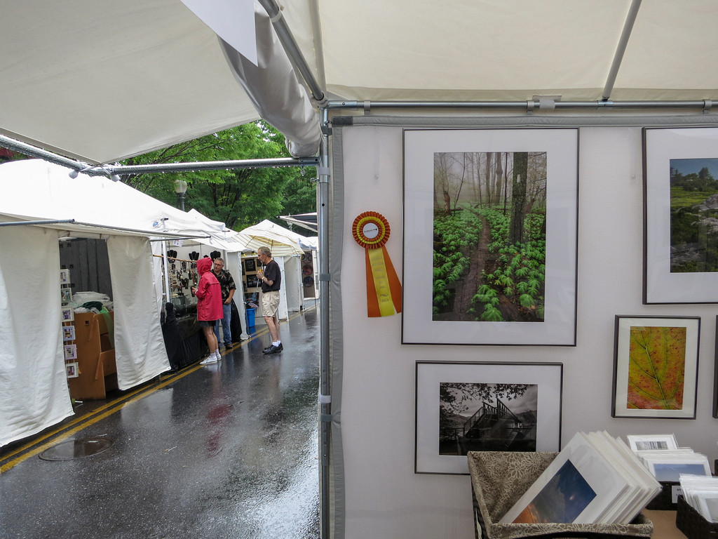 Rain on the second day of the 55th Annual Sidewalk Art Show, Taubman Museum of Art, Roanoke , VA (June 1-2, 2013). Photo by Laurie Bishop.