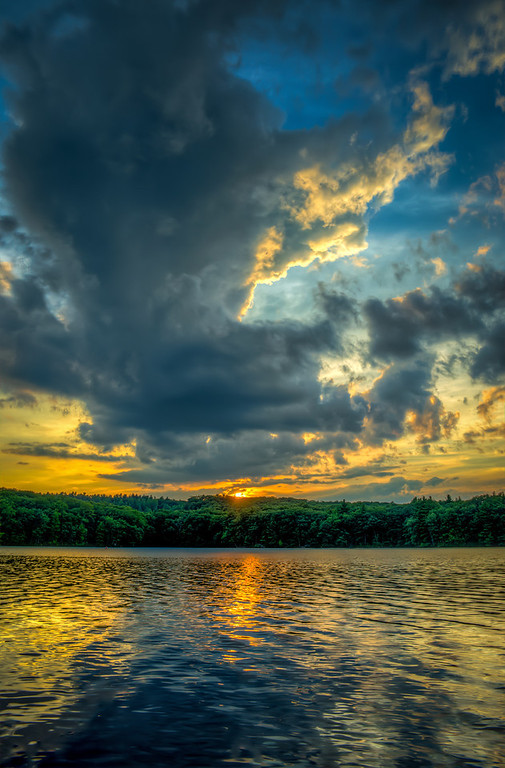 Golden sunset and clouds,  Ashland State Park, Ashland,  MA
