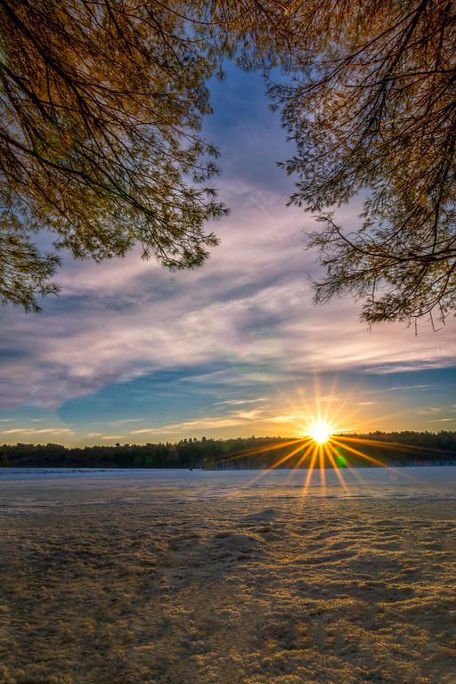Sunrise Light, Snow Covered Lake - Ashland State Park