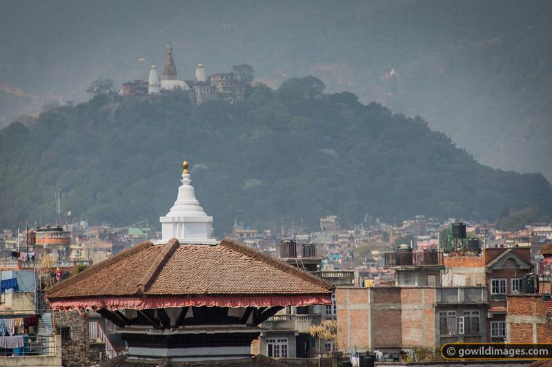 Swayambunath temple, perched on the hill, overlooks Kathmandu