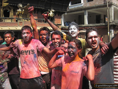 Holi street scene between Thamel and Durbar Marg