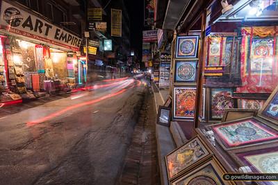 Thamel night scene. Hand painted mandalas.