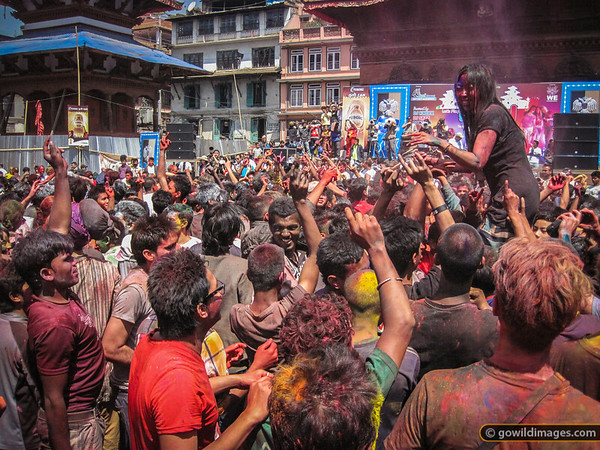 Holi - festival of colour - celebrations culminated in a dance party in Durbar Square. Tourists and locals alike got into the spirit of spraying water and throwing coloured dye.
