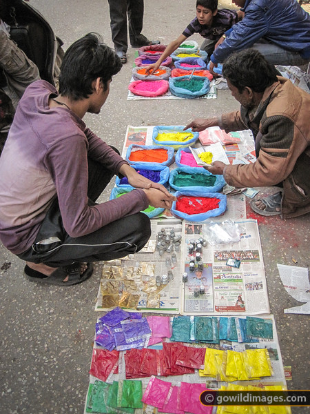 Holi street scene between Thamel and Durbar Marg. A range of coloured powders are available - some are vegetable based, but others can contain toxic heavy metals.