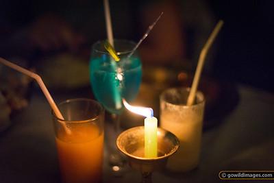 Living it up at a Thamel restaurant - fresh papaya juice, lassi and cocktail
