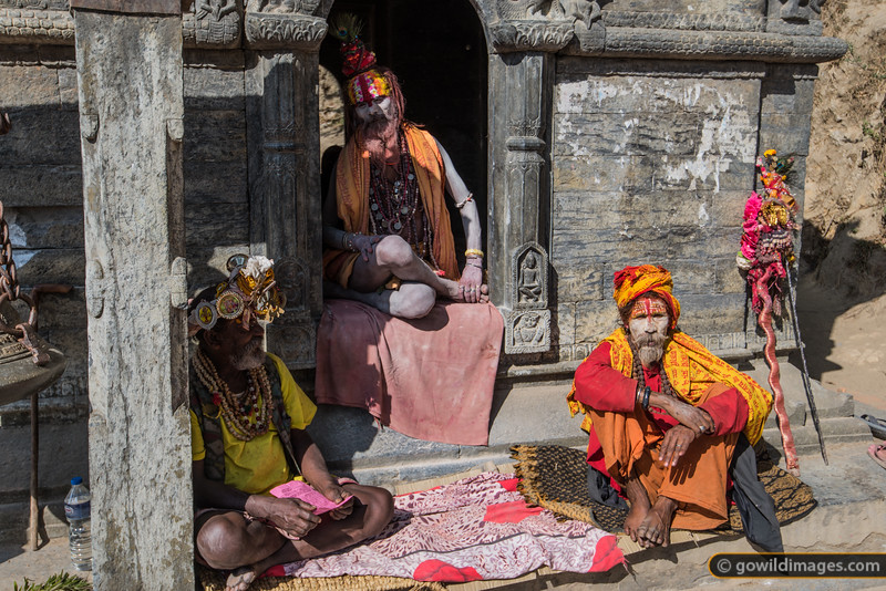 Colourful sadhus at Pashupatinath temple grounds