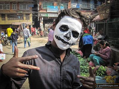 Holi street scene between Thamel and Durbar Marg